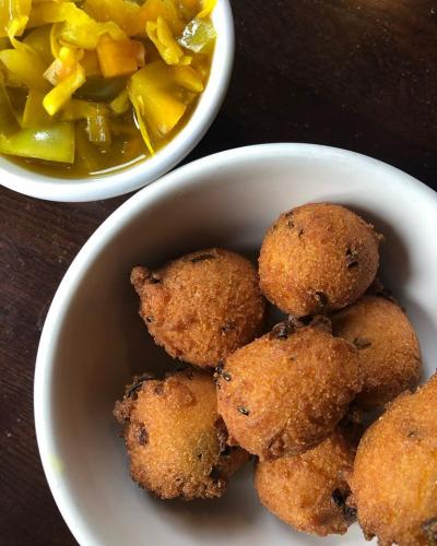 Hushpuppies with green tomato chow chow