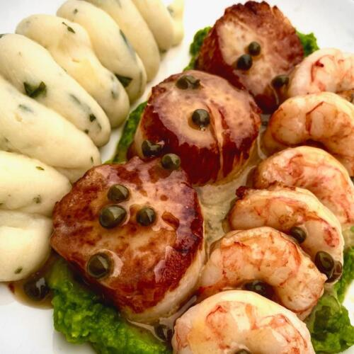 Pan Seared Scallops and Shrimp