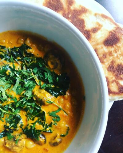 Mushroom, Kale and Chickpea Butter Curry